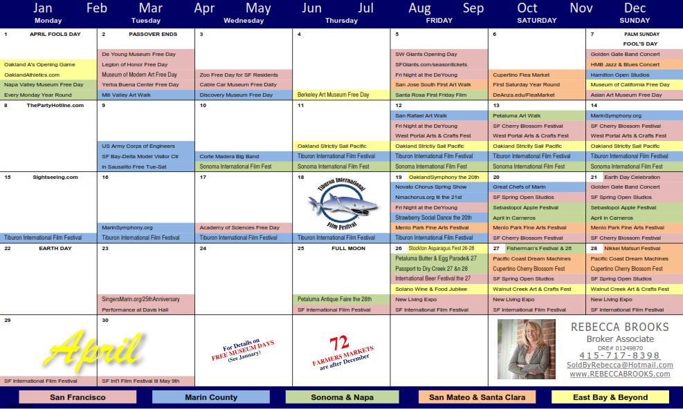 Sf Events Calendar.Rebecca Brooks Climb Real Estate San Francisco Marin Counties Ca